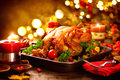 Thanksgiving Table Served With Turkey, Decorated With Autumn Leaves Stock Image - 79267911