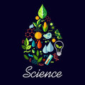 Science Emblem In Drop Shape With Symbols Stock Image - 79278541