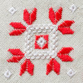 Element Handmade Embroidery On Linen By Red And White Cotton Threads. Background With Embroidery. Stock Photo - 79281550