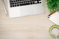 Office Desk Top View With Lot Of Stuff Royalty Free Stock Image - 79281886