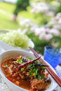 Rice Noodles With Spicy Pork Sauce Stock Images - 79282044