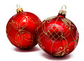 Two Perfect Red Christmas Balls Isolated Royalty Free Stock Photography - 79286217