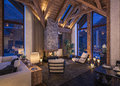 3D Rendering Of Evening Living Room Of Chalet Stock Photos - 79288723