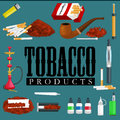 Smoking Tobacco Products Icons Set With Cigarettes Hookah Cigars Lighter Isolated Vector Illustration Stock Photo - 79288750