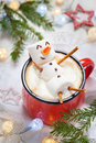 Hot Chocolate With Melted Marshmallow Snowman Stock Image - 79289061