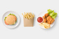Mock Up Burger, French Fries And Fried Chicken Set Isolated. Royalty Free Stock Images - 79297749