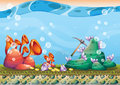 Cartoon Vector Underwater Treasure Background With Separated Layers For Game Art And Animation Game Royalty Free Stock Images - 79306389
