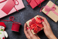 Female Hands Holding Christmas Gift Royalty Free Stock Photography - 79327107
