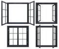 Collection Of Black Window Frames Isolated On White Royalty Free Stock Photos - 79330078