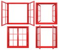 Collection Of Red Window Frames Isolated On White Stock Photos - 79336063