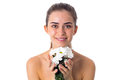 Young Woman Holding White Flowers Royalty Free Stock Photo - 79336495