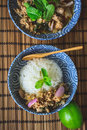 Thai Spicy Minced Pork On Wood Background, Thai Food On Wood Bac Royalty Free Stock Photo - 79344215