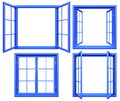 Collection Of Blue Window Frames Isolated On White Royalty Free Stock Photography - 79363897