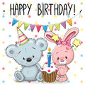 Greeting Card Rabbit And Bear Royalty Free Stock Photography - 79365767