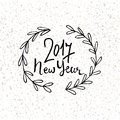Happy New Year 2017 Modern Lettering Design. New Year Greeting Holiday Card. Vector Hand Drawn Festive Text For Banner Royalty Free Stock Photos - 79371148
