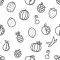 Seamless Line Art Fruit Icons Set Flat Design   Transparent Background Vector Illustration Royalty Free Stock Photo - 79371325
