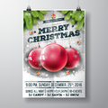 Vector Merry Christmas Party Design With Holiday Typography Elements And Glass Balls On Vintage Wood Background. Royalty Free Stock Photos - 79371658
