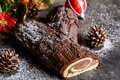 Traditional Christmas Buche De Noel Cake Royalty Free Stock Image - 79379456