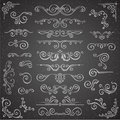 Dark Vector Set Of Swirl Elements For Frame Design. Calligraphic Page Decoration, Labels, Banners, Antique And Baroque Stock Images - 79414114