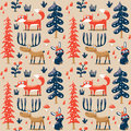 New Seamless Cute Winter Christmas Pattern Made With Fox, Rabbit, Mushroom, Bushes, Plants, Snow, Tree Royalty Free Stock Photo - 79419575