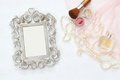 Vintage Woman Toilet Accessory Next To Blank Frame Stock Photography - 79431532
