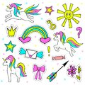 Fashion Patch Badges With Unicorn, Sun, Crown, Rainbow, And Other Elements For Girls. Vector Illustration Isolated On Royalty Free Stock Photo - 79458315
