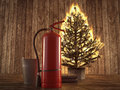 Burning Christmas Tree With Extinguisher And Bucket Beside. 3d Rendering Royalty Free Stock Photo - 79476785