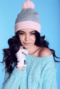 Beautiful Girl With Curly Hair  In Warm Cozy Winter Clothes Royalty Free Stock Photos - 79478228