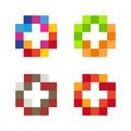 Colorful  Mosaic Cross Logo Set. Tile Element Collection. Stock Image - 79489451