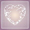Openwork Square Card With Heart And Lilies Of The Valley. Laser Royalty Free Stock Image - 79490946