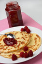 Raspberry Jam On Pancakes Royalty Free Stock Photography - 7950437
