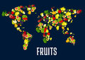 Map Of World Continents Designed Of Fruits Royalty Free Stock Photography - 79501087