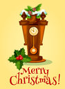 New Year Greeting Card With Clock And Pine Tree Stock Photography - 79516762
