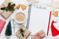 Cup Of Hot Cocoa, Holiday Decorations, Gift, Present, Miniature Fir Tree And Notebook With Christmas To Do List On White Table. Royalty Free Stock Image - 79526466