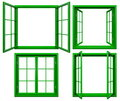 Collection Of Green Window Frames Isolated On White Royalty Free Stock Image - 79530786