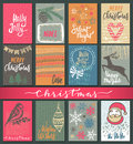 Collection Of Nine Christmas Cards With Hand Drawn Elements. Royalty Free Stock Photos - 79541128