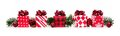 Christmas Border Of Red And White Gift Boxes And Branches Stock Image - 79544701