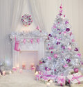 Christmas Tree Interior, Xmas Fireplace In Pink Decorated Indoor Stock Images - 79550604