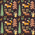 Seamless Cute Winter Christmas Pattern Made With Fox, Rabbit, Mushroom, Moose, Bushes, Plants, Snow, Tree Royalty Free Stock Images - 79567499
