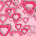 Bright Pink Paper Hearts Vector Background. Stock Images - 79582354
