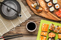Asian Food, Sushi Rolls, Nigiri, Maki With Soy Sauce Stock Images - 79593324