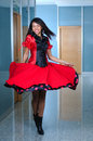 Woma In Red Dres Dancig Stock Photography - 7961902