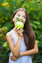Picture Of Beautiful Girl With Green Apple Royalty Free Stock Photo - 79636075