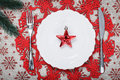 Vintage Christmas Plate On Holiday Background With Red Star. Canvas Background With Red Glitter Snowflakes. Xmas Card. Happy New Y Royalty Free Stock Photography - 79638137