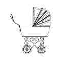 Silhouette Traditional Baby Carriage With Soft Top Stock Photo - 79640900