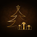 Christmas Tree Happy New Year Gold Background Stock Photography - 79644702