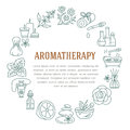 Aromatherapy And Essential Oils Circle Template. Vector Line Illustration Of Aromatherapy Diffuser, Oil Burner, Spa Candles, Incen Royalty Free Stock Photos - 79646998