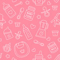 Seamless Pattern Baby Food, Pastel Color, Vector Illustration. Infant Feeding Thin Line Icons. Cute Repeated Pink Texture, Baby It Royalty Free Stock Photo - 79647145