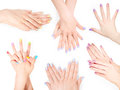 Bundle Of Hands With Shellac Art Manicure Royalty Free Stock Photo - 79647485