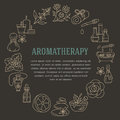Aromatherapy And Essential Oils Brochure Template. Vector Line Illustration Of Aromatherapy Diffuser, Oil Burner, Spa Candles, Inc Royalty Free Stock Photo - 79647765